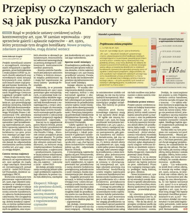 Przepisy o czynszach w galeriach jak puszka Pandory
